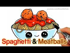nice How to Draw Spaghetti and Meatballs step by step Easy - Fun Food with faces