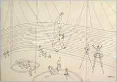 """The Circus,"" Alexander Calder, 1932 Alexander Calder, Mobiles, Drawings For Him, Circus Art, Ligne Claire, Kinetic Art, Black And White Drawing, Art Database, Wire Art"