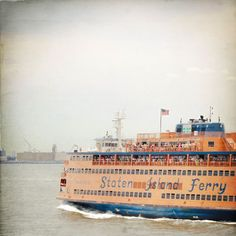 Staten Island Ferry Photo NYC Photography by AndrewRhodesPhoto. The Staten Island Ferry steams through New York Harbor, full of commuters and tourists trying to catch a glimpse of the Statue of Liberty.