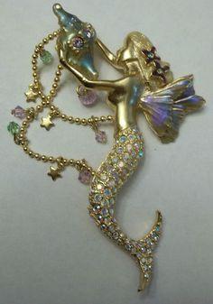 Vintage Kirks Folly Mermaid Pin Brooch Seashell Crystals Figural Huge 3 5 by 2 | eBay