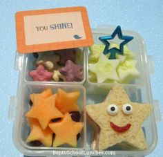 Bento School Lunches: Star Bento. Simple, quick lunch. Love the colors and all of the veggies.