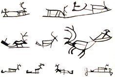 Reindeer with carriage symbol in Sámi art. [Drawings of Saami symbology used on ritual drums & possibly in prehistoric rock art in northern Eurasia. Deer Art, National Art, Viking Jewelry, Indigenous Art, Ancient Art, Tattoo Studio, Rock Art, Body Art Tattoos, Reindeer