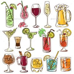 Set of isolated colorful cocktails vector art illustration Mojito, Cocktails Drawing, Cocktail Glassware, Cocktail Illustration, Chibi Kawaii, Cocktails Vector, Colorful Cocktails, Summer Drinks, Coffee Drawing