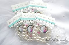 Princess Elsa and Anna Frozen birthday party favor pearl necklace, white, bag on Etsy, $5.00