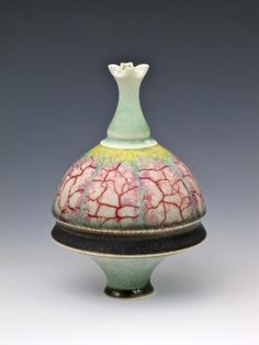 GEOFFREY SWINDELL Porcelain Wheelmade Vessel, lustre over matt glaze- brain on a platter