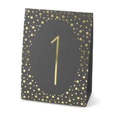 Organize your reception tables and make a sparkling impression with these polka-dotted number tents. These two-sided tents pair gold foil with a black backdrop for an exciting presentation that makes it easy for guests to identify where to sit.