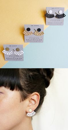 Perforated Leather Geometric Ear Jackets ⁂ Gold, White and Black by Scandinazn