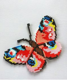DIY Butterfly hama perler beads by sofiieg Hama Beads Design, Diy Perler Beads, Perler Bead Art, Pearler Beads, Fuse Bead Patterns, Perler Patterns, Beading Patterns, Skins Minecraft, Art Perle