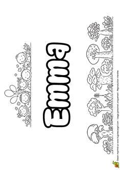 Coloriage du prénom Emma en version goûter