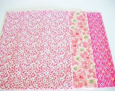 Fat Quarter Fabrics Bundle, 3 Blue Hill Fabrics, Marcus Fabric,s Quilting Sewing Fabric, Accent Fabrics, Pink Flowers, Springtime, Summer