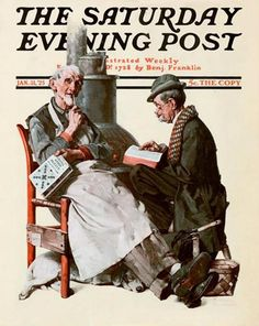 """Crossword Puzzle"" 1/31/1925 by Norman Rockwell for The Saturday Evening Post, cover (info verified)"