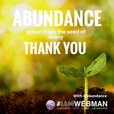 Abundance grows from the seed of every thank you. #Abundance #IAMWEBMAN #weinspire #abetterfuture #influencer #influencermarketing