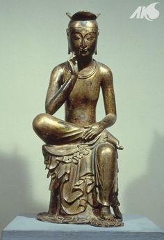 [Antiquity-Three Kingdoms Period(Silla)] Geumdong Mireukbosal Banga Sayusang (Gilt-bronze Maitreya Bodhisattva)