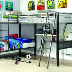 Shop Furniture of America Ballarat Triple Twin Bunk Bed with Desk with great price, The Classy Home Furniture has the best selection of Bunk Beds to choose from