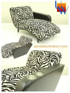 Custom zebra chair with custom arm by Upholstery Works. Las Vegas, NV http://www.UpholsteryWorksLV.com