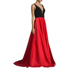 Basix Black Label Pearl Top A-Line Gown (£280) ❤ liked on Polyvore featuring dresses, gowns, red ball gown, a line ball gown, sleeveless a line dress, red a line dress and deep v neck dress