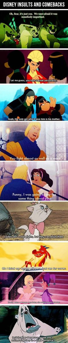 Insults and Combacks from Disney cartoons