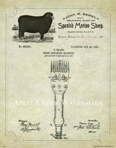 Official tattoo machine us patent art 8x10 print percy waters sheep shears patent poster art print vintage merino wool breeder lambs pat413 vintage malvernweather Gallery