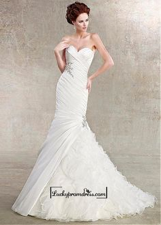Alluring Taffeta&Organza Mermaid Sweetheart Neckline Natural Waistline Wedding Dress