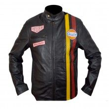 Le Mans Black Leather Jacket, made from genuine cowhide leather.
