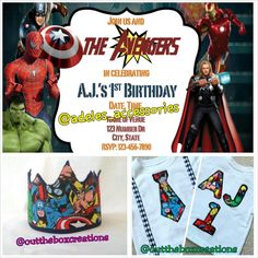 Avengers Birthday Shirt (and crown) with Birthday Invitations, Avengers invitation, Avengers shirt, birthday invitation, custom boys shirt - pinned by pin4etsy.com