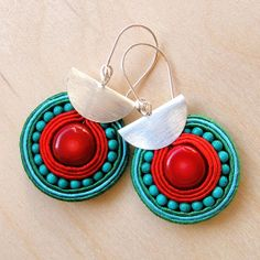 """Soutache earrings """"Rudo"""" - red Coral and natural Turquoise Soutache Earrings, Diy Earrings, Red Coral, Turquoise, Beaded Jewelry, Jewellery, Beaded Embroidery, Jewels, Beads"""