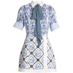 Mary Katrantzou Hayden toile de Jouy-print poplin dress ($1,393) ❤ liked on Polyvore featuring dresses, blue multi, white day dress, short dresses, white blue dress, pattern dress and print dresses