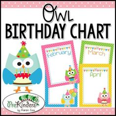 A Printable Birthday Chart For Your Classroom With Owls I Have Included PDF And
