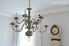 Making Over a Chandelier with Chalk Paint by Dear Lillie/Annie Sloan paint in Paris Gray and dark wax