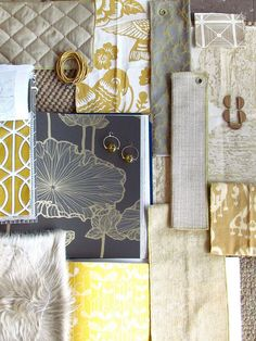 Master Bedroom Color / Textures Scheme: Steel Blues/Grays, Creams, Muted Gold, Patterns, Textures.  The warmth of the yellow tones balance the cools of the blues.