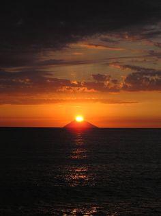 Sunset behind Stromboli