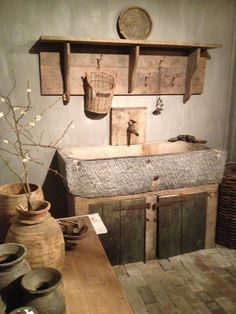 Stone sink on timber cabinet. Stone sink on timber cabinet. Primitive Bathrooms, Primitive Kitchen, Rustic Bathrooms, Rustic Kitchen, Vintage Kitchen, Primitive Decor, Stone Kitchen, Kitchen Ideas, Industrial Bathroom