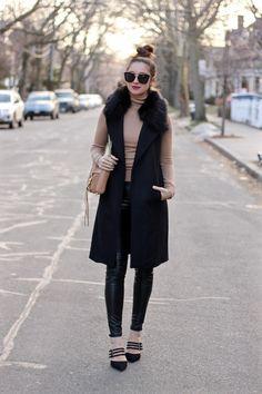 Long Black Vest with detachable faux fur collar