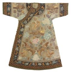 A RARE IMPERIAL LADY'S INFORMAL GAUZE  ROBE, QING DYNASTY, GUANGXU PERIOD finely embroidered with sprigs of large peonies interspersed with couched wanshou medallions, stylized shou characters and flying phoenix in gold-wrapped threads, the black collar and sleeve bands with a similar motif further edged with couched stylized shou characters and florets, the sleeves with an additional black brocade band.