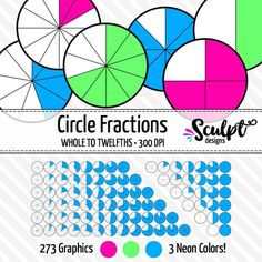 Fractions CLIP ART. Perfect for creating worksheets, games or task cards! Bright neon colors.