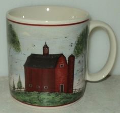 Warren Kimble Barns Mug 1998 Sakura Red Barn Country Theme Coffee Cup Mug ~ This Item is for sale at LB General Store http://stores.ebay.com/LB-General-Store ~Free Domestic Shipping ~