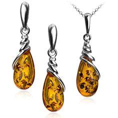 Amber Sterling Silver Drop Dangle Earrings Pendant Set Chain 46 cm