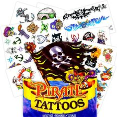 Pirate Tattoos - 50 Assorted Temporary Tattoos (Pirate Party Supplies and Pirate Party Favors) Kids Party Games, Birthday Party Games, First Birthday Parties, Games For Kids, First Birthdays, Pirate Party Supplies, Pirate Party Favors, Pirate Theme, Dinosaur Party