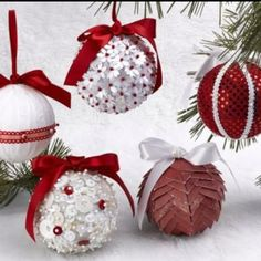 Homemade ornaments using styrofoam balls