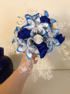 My wedding bouquet, work in progress. #paper flowers #fabric flowers #homemade