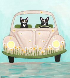 Flower Power Bug Road Trip Original Cat Folk Art Painting by KilkennycatArt