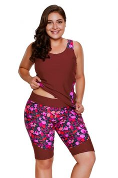 36d554a6c1 US$ 9.32 Burgundy Floral Insert Tankini and Short Sports Suit Red Tankini,  Plus Size