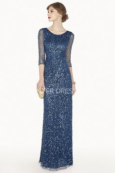 $110.39-Modest Scoop Neck Sheath Sequin Long Prom Dress With Sleeves. http://www.ucenterdress.com/scoop-neck-3-4-illusion-sleeve-sheath-sequin-long-prom-dress-with-beadings-pMK_301320.html.  Shop for cheap prom dresses, party dresses, night dresses, maxi dresses, little black dresses, junior prom dresses, girls prom dresses, designer prom dresses for sale. We have great 2016 prom dresses on sale. Buy prom dresses online at UcenterDress.com #prom #dress today!