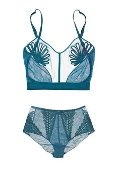 Jean Paul Gaultier for LA PERLA Feuillage long-line tulle bra and high waisted briefs. awesome color choice and details.