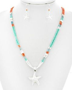 Turquoise Beaded Starfish Necklace
