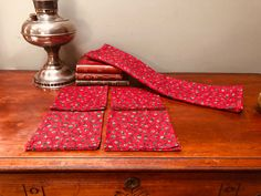 Vintage Handmade Christmas Fabric Card table Table Cloth and Napkins Midcentury Cottage Chic Christmas Decor, I Ship Worldwide