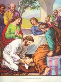 Jesus Washing His Disciples' Feet  Large 1952 by GoodlookinVintage, $10.00
