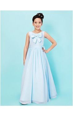 A-line Scoop Floor-length Chiffon Junior Bridesmaid Dress