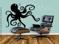 OP: Octopus by KathWren  Original Vinyl Wall Decal by kathwren on Etsy, $32.99    Me: Seriously? $33? That's it? WIN. Also, WANT. (...Yes. Yes, I do have A Thing for cephalopoda. And gastropoda.)
