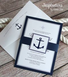 Nautical Invitations Nautical Wedding Navy by InspirationsbyAmieLe Square Wedding Invitations, Nautical Wedding Invitations, Graduation Invitations, Wedding Invitation Cards, Wedding Cards, Our Wedding, Wedding Navy, Nautical Wedding Decor, Ideas Para Fiestas